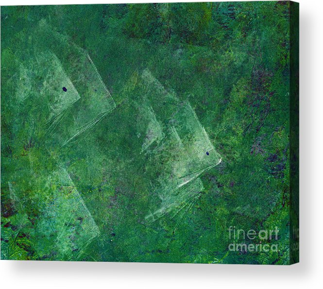 A School Of Fish In Green Water- Monotype Print Acrylic Print featuring the painting Green Water by Mui-Joo Wee