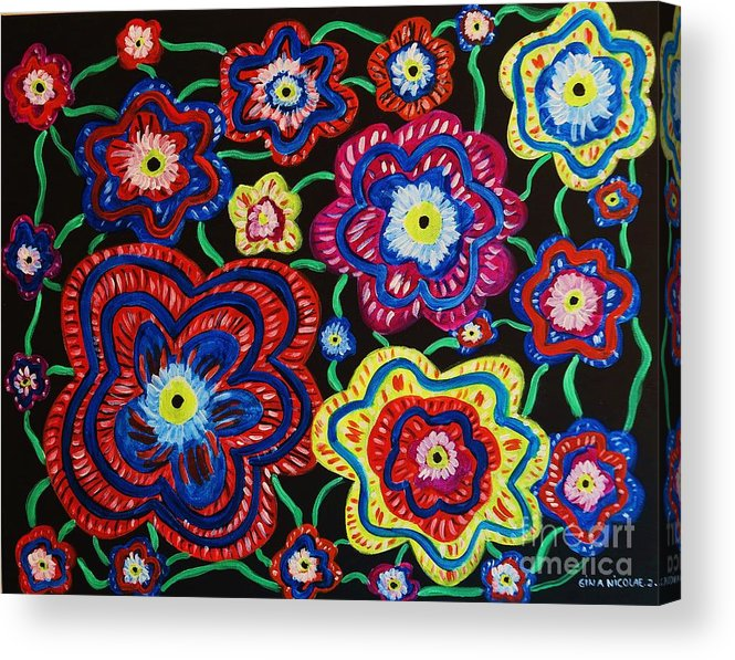 Flowers Acrylic Print featuring the painting Gypsies Beauty And Pride by Gina Nicolae Johnson