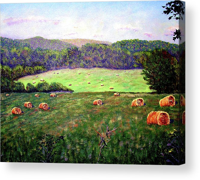 Original Oil On Canvas Acrylic Print featuring the painting Hay Field by Stan Hamilton
