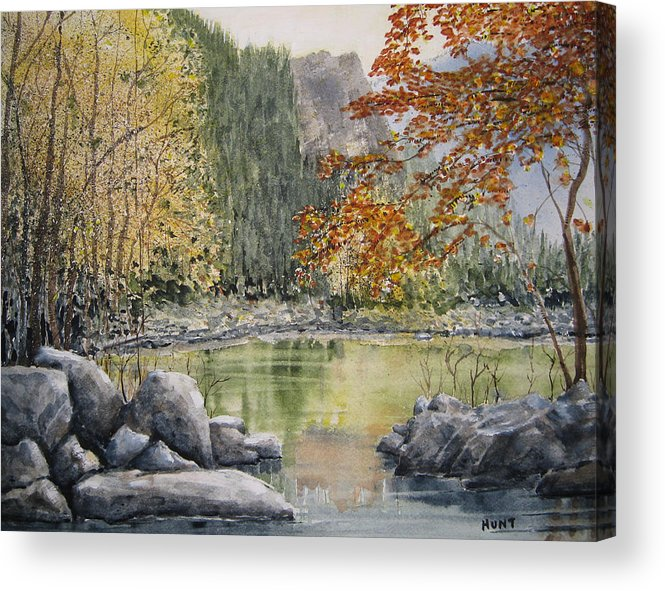 Landscape Acrylic Print featuring the painting Hidden Lake by Shirley Braithwaite Hunt