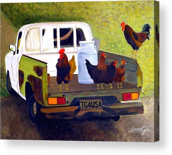 Truck Acrylic Print featuring the painting Hitchin' A Ride To Town by JoeRay Kelley
