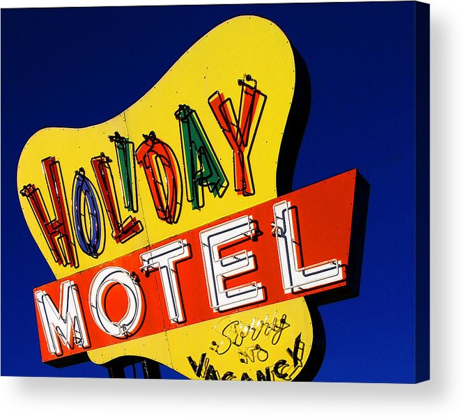 Color Acrylic Print featuring the photograph Holiday Motel by Curtis Staiger