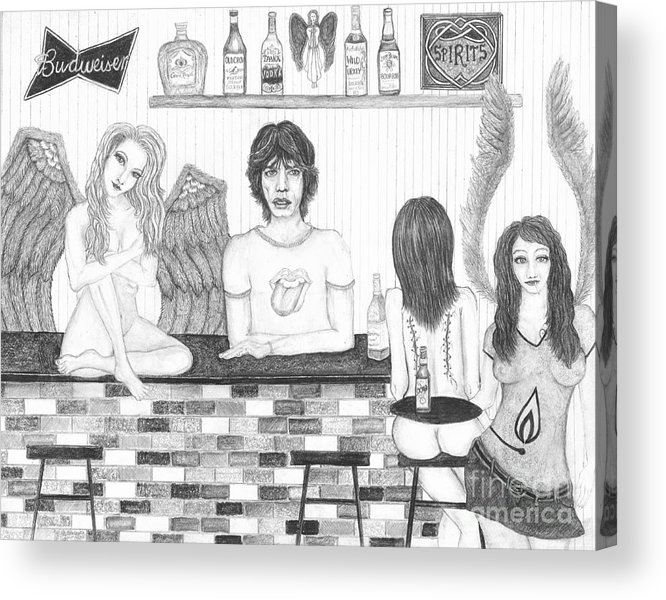 Wendy Wunstell Acrylic Print featuring the drawing Honky Tonk Angels by Wendy Wunstell
