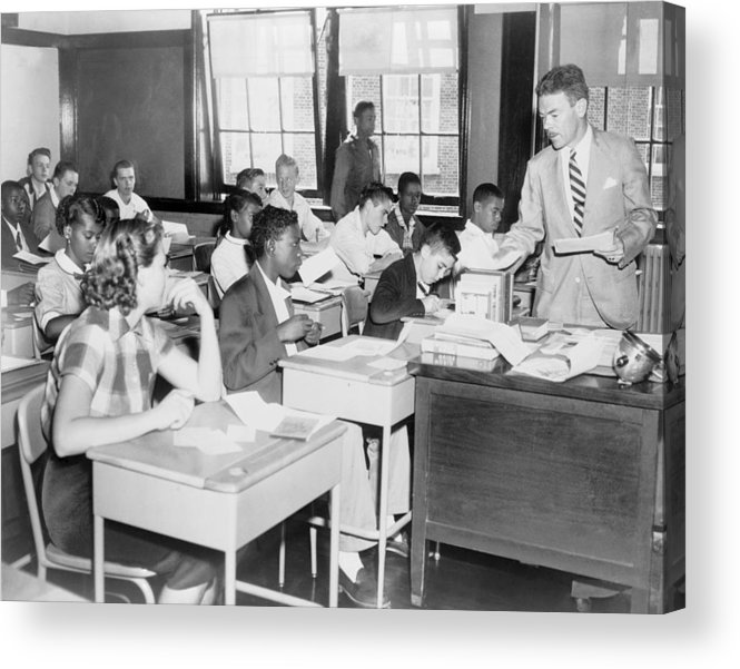 History Acrylic Print featuring the photograph Integrated Classroom In Washington by Everett