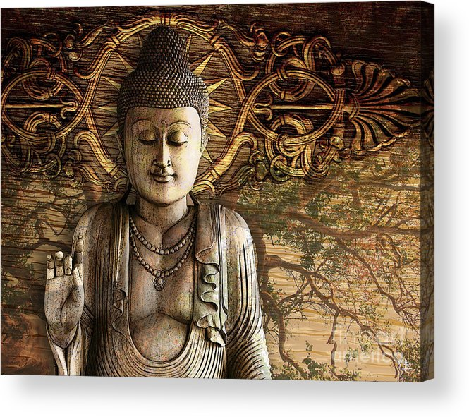 Buddha Acrylic Print featuring the digital art Intentional Bliss by Christopher Beikmann