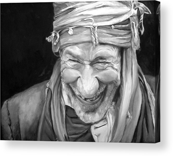Man Acrylic Print featuring the painting Iranian Man by Enzie Shahmiri