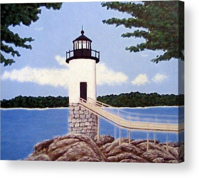 Isle Au Haut Lighthouse Painting Acrylic Print featuring the painting Isle Au Haut Lighthouse by Frederic Kohli