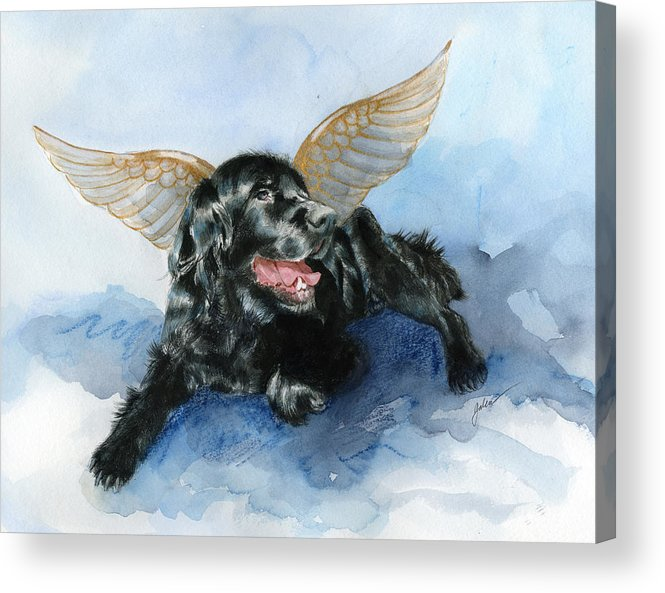 Dog Acrylic Print featuring the painting Jake Angel by Galen Hazelhofer