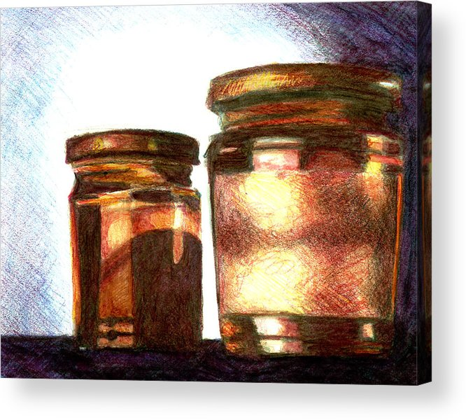 Still Life Acrylic Print featuring the drawing Jars by Raven Creature