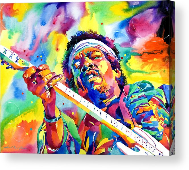Jimi Hendrix Acrylic Print featuring the painting Jimi Hendrix Electric by David Lloyd Glover