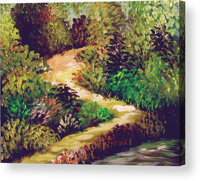 Landscape Acrylic Print featuring the painting Jungle Walk by Sandra Young Servis