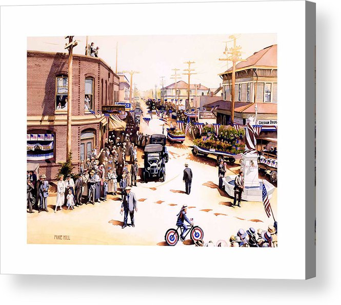 Gresham Parade Fourth Of July Armistice Day 1919 Statue Liberty Bike Float Flag Patriotic Celebrate Acrylic Print featuring the painting Keep To The Right by Mike Hill