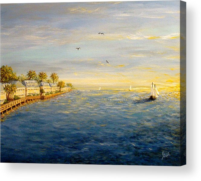 Key Acrylic Print featuring the painting Key West Sunset by Leea Baltes