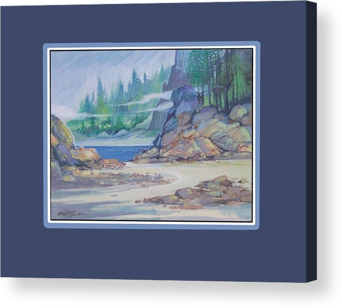 Landscape Seascape Sand And Dunes Forest And Ocean Cove Acrylic Print featuring the painting Lemonpepper Cove by Walt Green