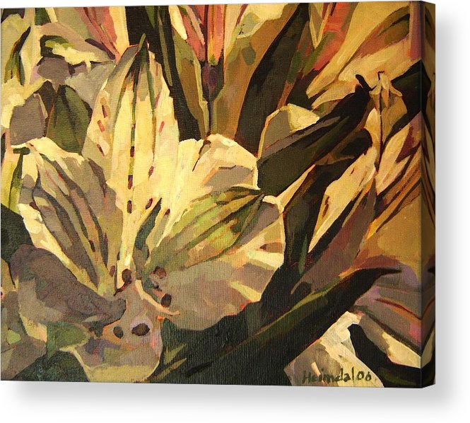 Tim Heimdal Acrylic Print featuring the painting Lily White by Tim Heimdal