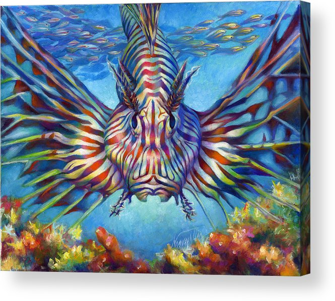 Lion Fish Acrylic Print featuring the painting Lion Fish by Nancy Tilles
