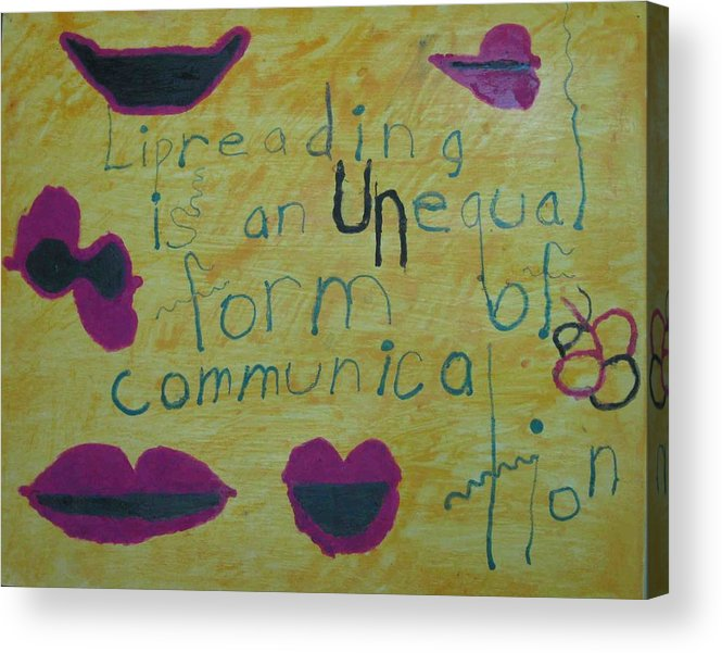 Lipreading Acrylic Print featuring the painting Lipreading by AJ Brown