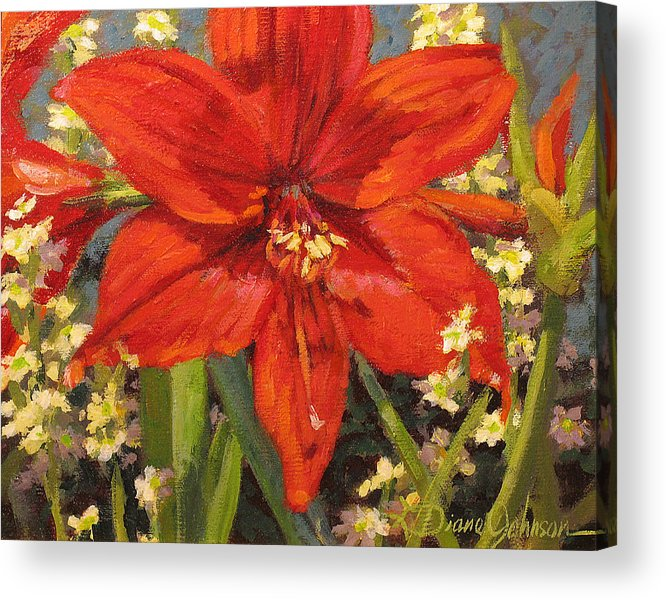 Red Flower Blossom Acrylic Print featuring the painting Lone Beauty by L Diane Johnson