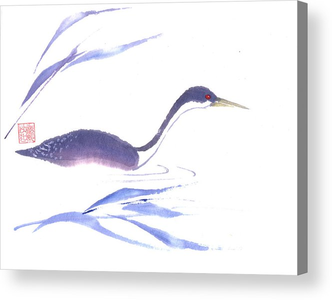 A Lone Loon Swimming Through The Tall Grass. This Is A Contemporary Chinese Ink And Color On Rice Paper Painting With Simple Zen Style Brush Strokes.  Acrylic Print featuring the painting Loon by Mui-Joo Wee