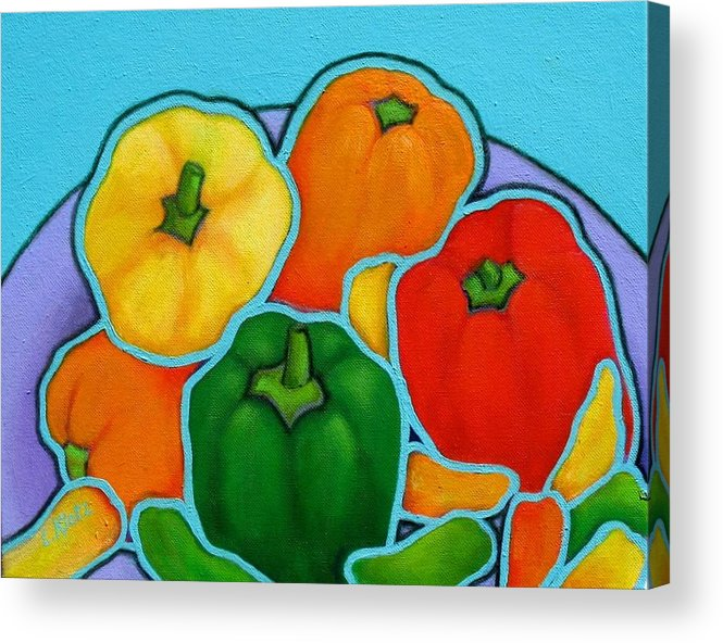 Bell Peppers Acrylic Print featuring the painting Lotsa Peppas by Lorraine Klotz