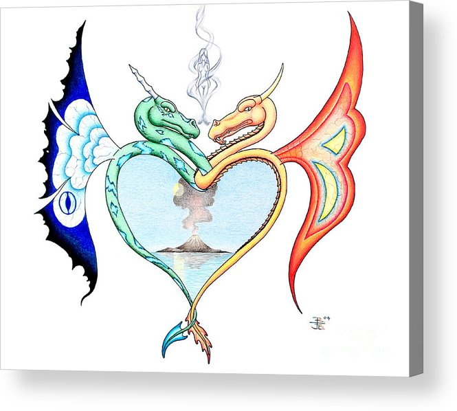 Fantasy Acrylic Print featuring the drawing Love Dragons by Robert Ball