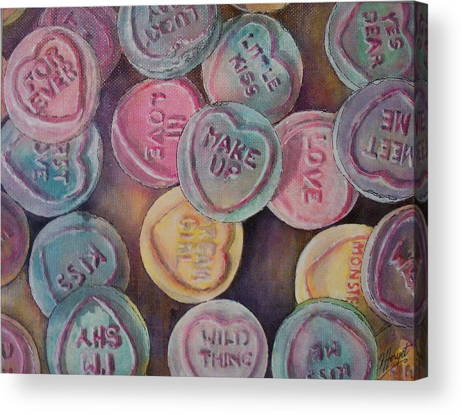 Candy Acrylic Print featuring the painting Love Hearts by Victoria Heryet