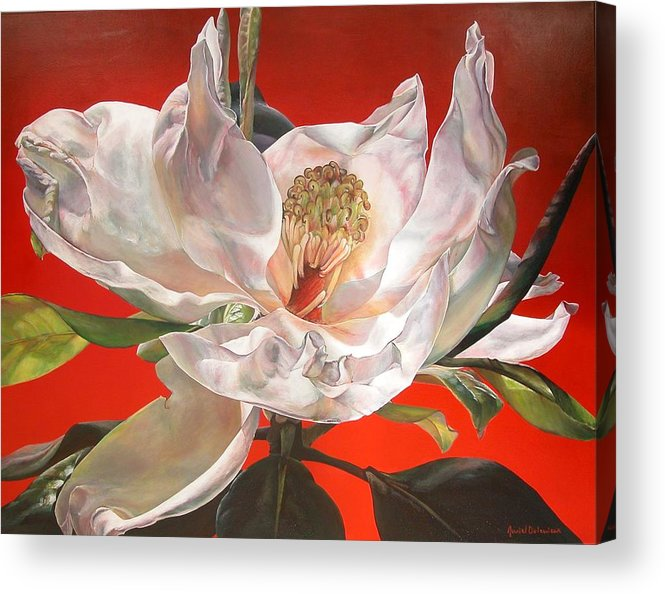 Floral Painting Acrylic Print featuring the painting Magnolia by Muriel Dolemieux