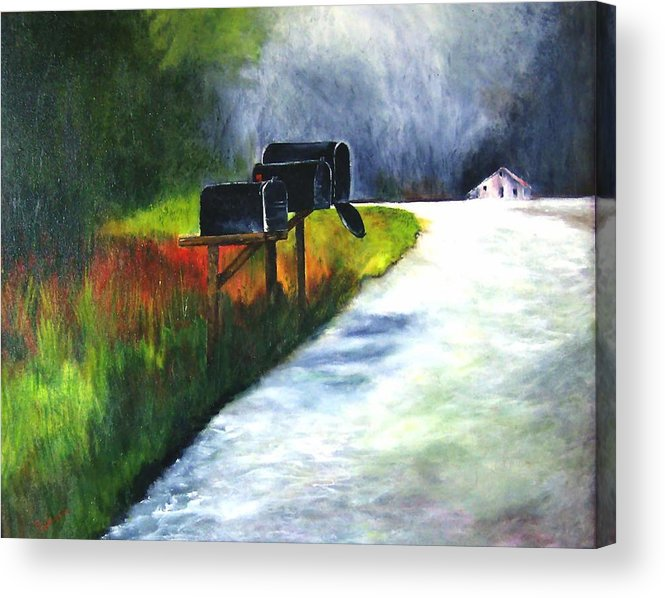 Landscape Acrylic Print featuring the painting Mail Call by Julie Lamons