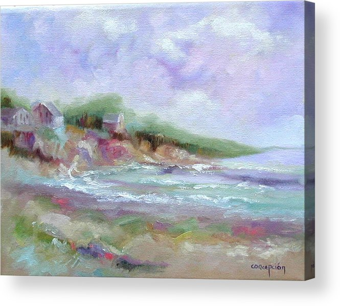 Maine Coastline Acrylic Print featuring the painting Maine Coastline by Ginger Concepcion