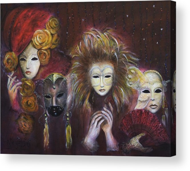 Masks Acrylic Print featuring the painting Making Faces Vi by Nik Helbig