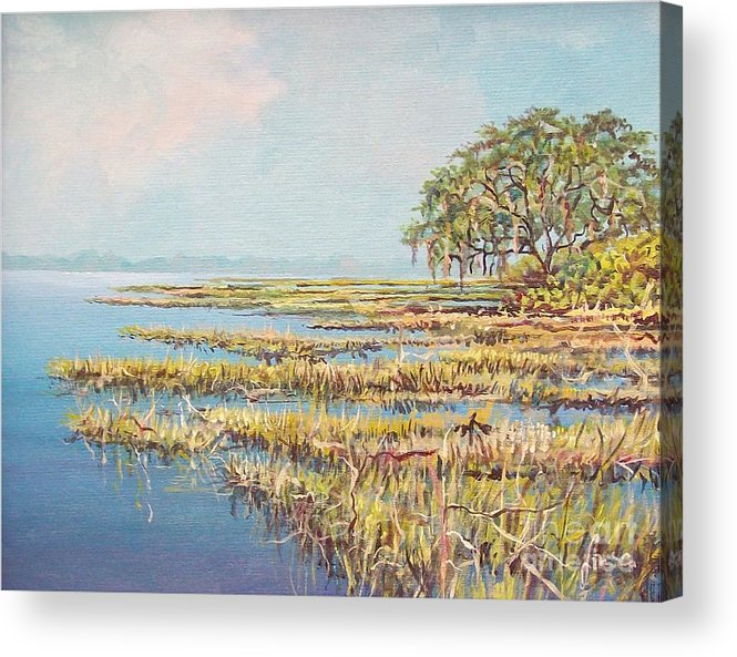 Marsh. Nature Acrylic Print featuring the painting Marshland by Sinisa Saratlic