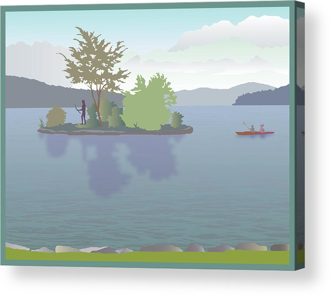 Lake Acrylic Print featuring the painting Meredith Bay by Marian Federspiel