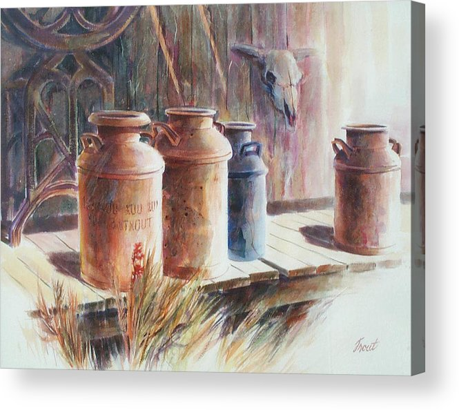 Old Milk Cans Acrylic Print featuring the painting Milk Run by Don Trout