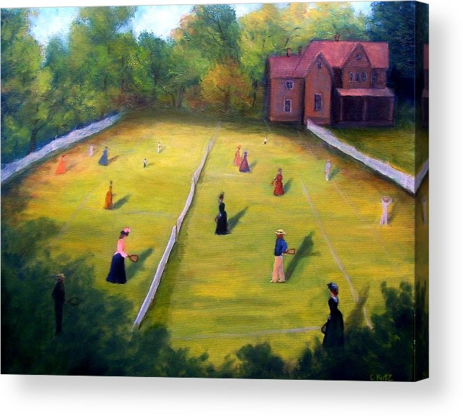 Tennis Art Acrylic Print featuring the painting Mixed Doubles by Gail Kirtz