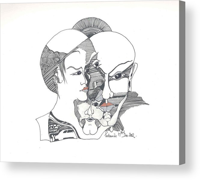 Human Shapes Acrylic Print featuring the drawing Mixed Identities by Padamvir Singh
