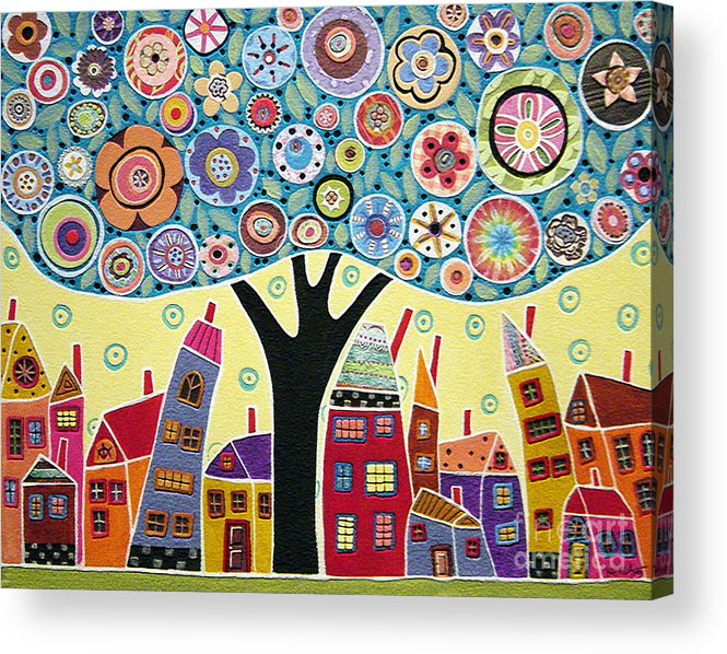 Landscape Acrylic Print featuring the painting Mixed Media Collage Tree And Houses by Karla Gerard