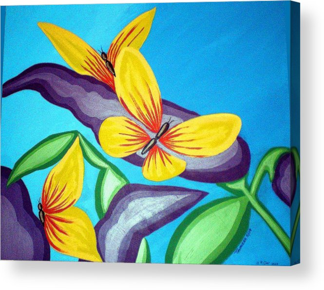 Butterflies Acrylic Print featuring the painting Mom And Me And Butterflies Too by Tammera Malicki-Wong