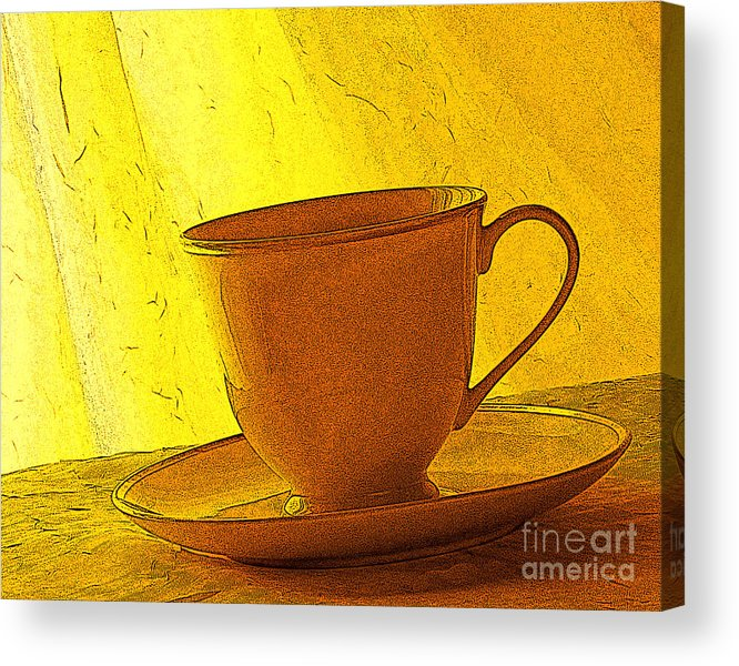 Yellow Acrylic Print featuring the photograph Morning Teacup by Jacqueline Milner