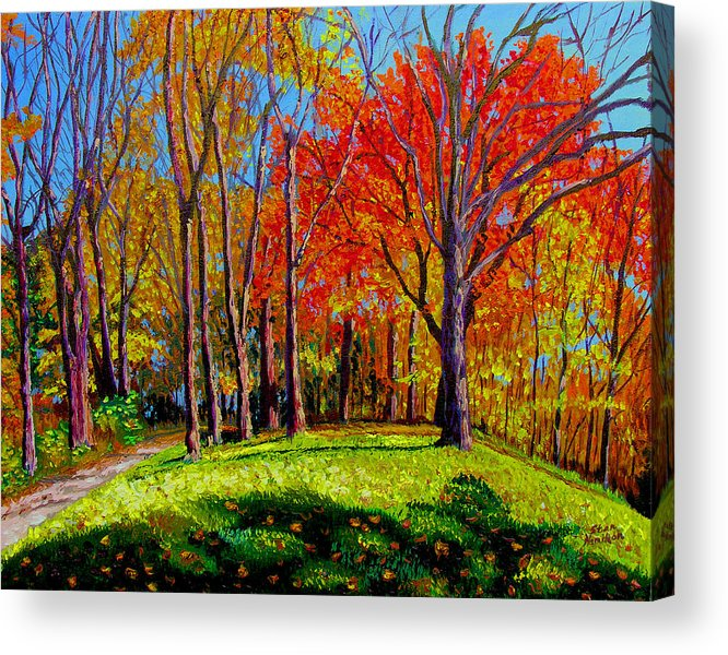 Trees Autumn Hill Grass Sunshine Shadows Sky Colors Path Acrylic Print featuring the painting Nashville North by Stan Hamilton