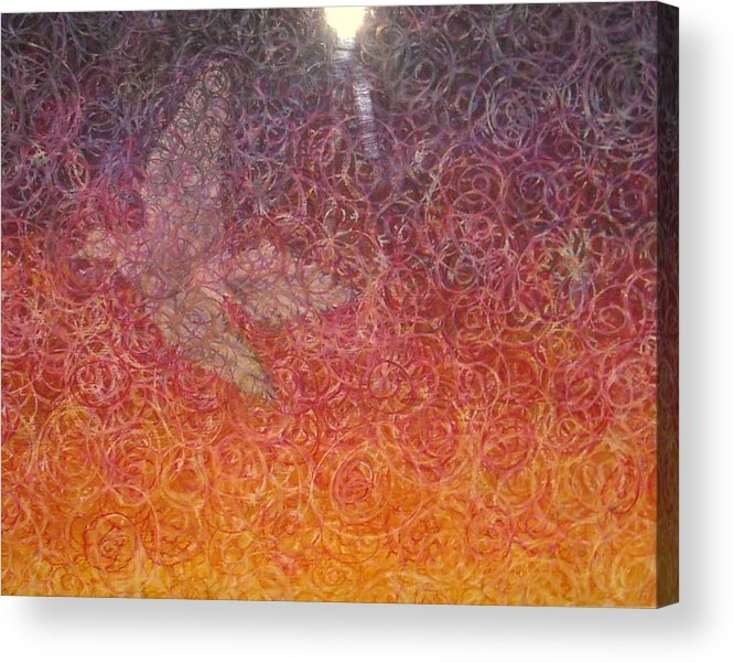 Bright Mourning Dove Abstract Death Resurrection Acrylic Print featuring the painting No Longer Mourning by Sally Van Driest
