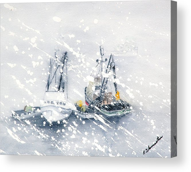 Coastal Acrylic Print featuring the painting Not All Fishing Is Fun by Robert Thomaston