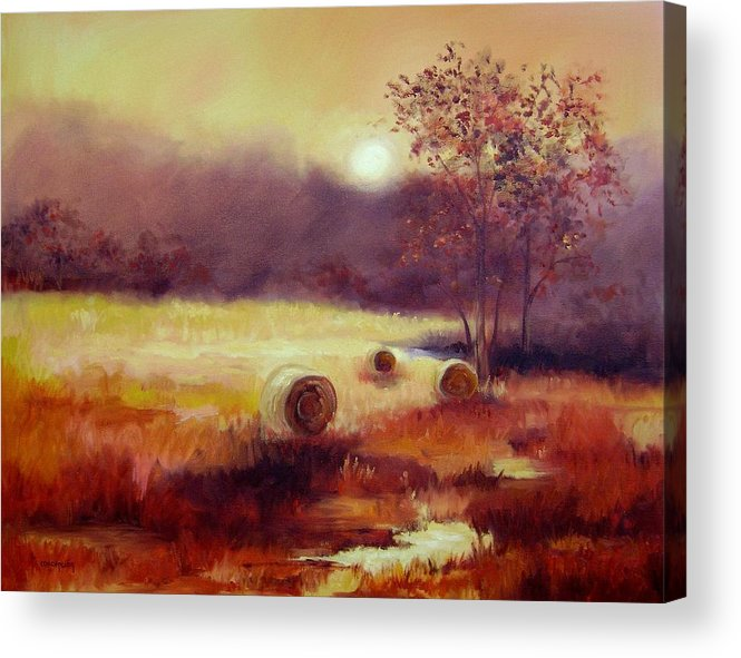 Fall Landscapes Acrylic Print featuring the painting October Pasture by Ginger Concepcion