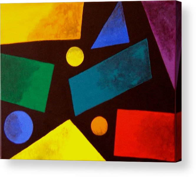Abstract Acrylic Print featuring the painting Odd Man Out by Linda Powell