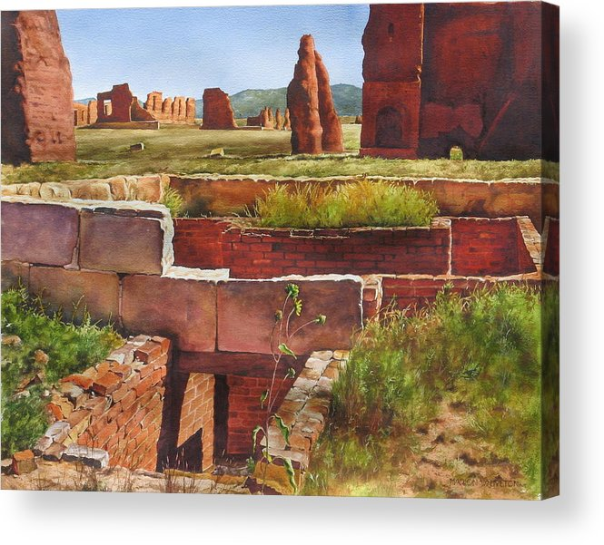 American History Acrylic Print featuring the painting Officer's Quarters - Ft.union by Marion Hylton