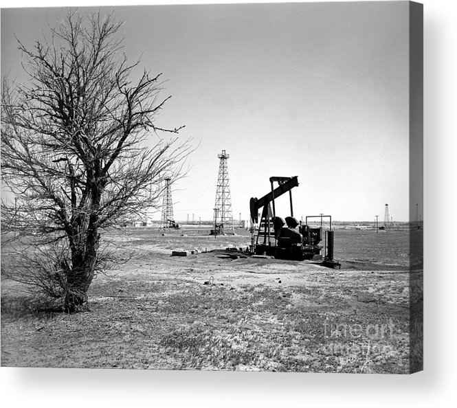 Oil Acrylic Print featuring the photograph Oklahoma Oil Field by Larry Keahey