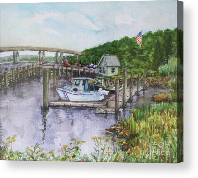 Boatyard Acrylic Print featuring the painting Old Lyme Boat Yard At The Dep by B Rossitto
