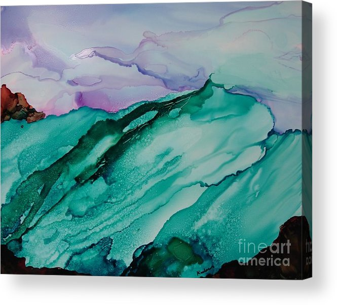 Ocean Acrylic Print featuring the painting On The Rocks by Susan Kubes
