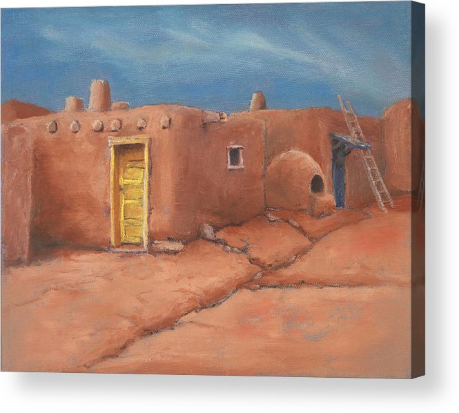 Taos Acrylic Print featuring the painting One Yellow Door by Jerry McElroy