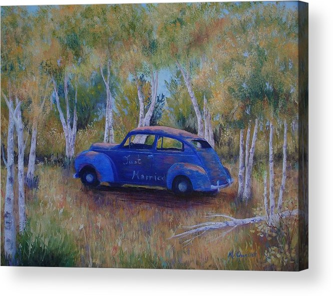 Landscape Acrylic Print featuring the painting Only Just Begun by Maxine Ouellet