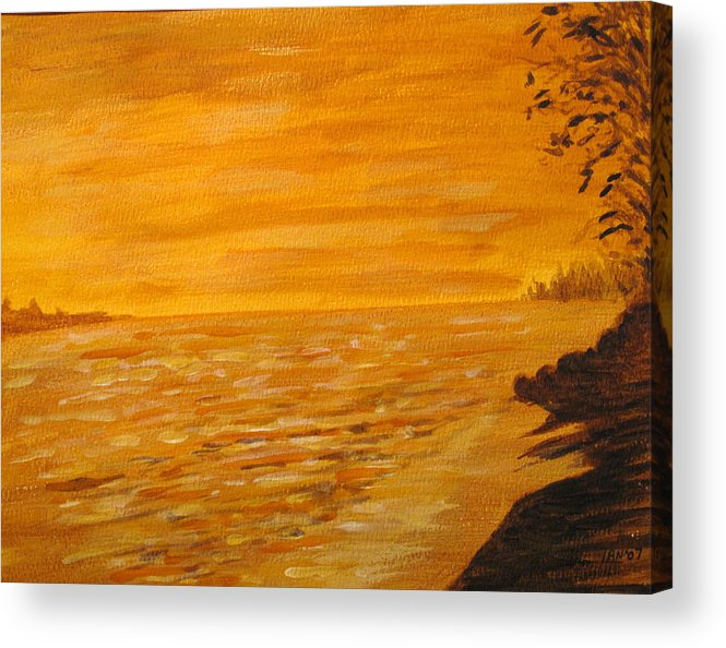 Ocean Acrylic Print featuring the painting Orange Beach by Ian MacDonald